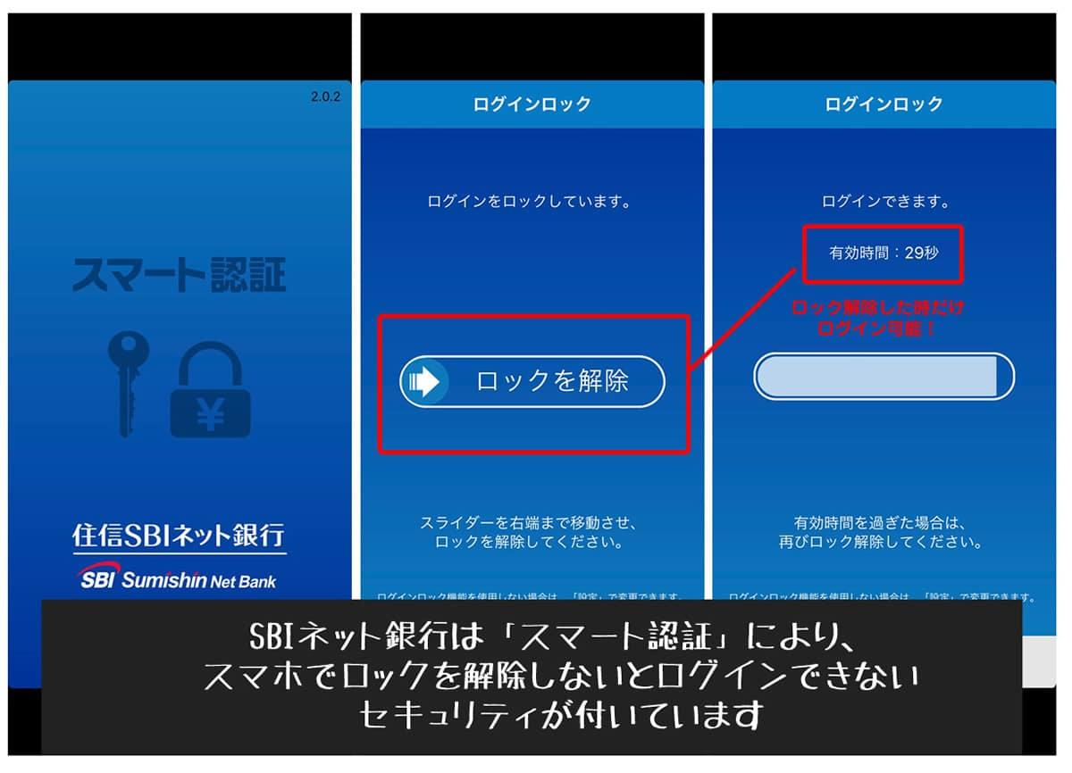 住信SBIネット銀行デビットカード スマート認証 画面