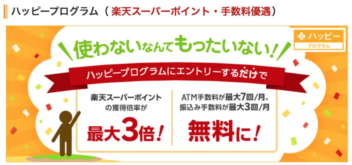 楽天銀行JCBデビットカード ハッピープログラム